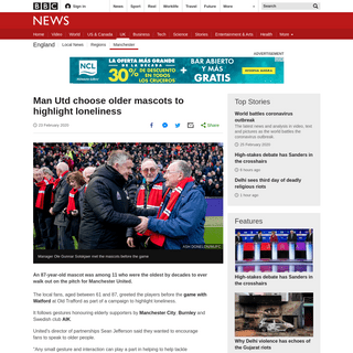 Man Utd choose older mascots to highlight loneliness - BBC News