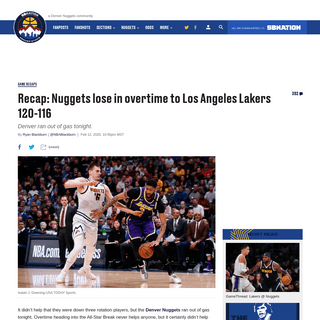 Recap- Nuggets lose in overtime to Los Angeles Lakers 120-116 - Denver Stiffs