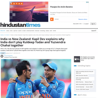 ArchiveBay.com - www.hindustantimes.com/cricket/india-vs-new-zealand-kapil-dev-explains-why-india-don-t-play-kuldeep-yadav-and-yuzvendra-chahal-together/story-LchaiPQPTlv74ty04k4VdP.html - India vs New Zealand- Kapil Dev explains why India don't play Kuldeep Yadav and Yuzvendra Chahal together  - cricket - Hindu