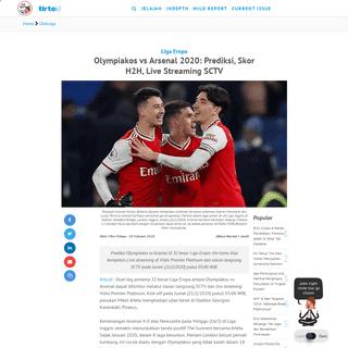 Olympiakos vs Arsenal 2020- Prediksi, Skor H2H, Live Streaming SCTV - Tirto.ID