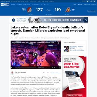 Lakers return after Kobe Bryant's death- LeBron's speech, Damian Lillard's explosion lead emotional night - CBSSports.com