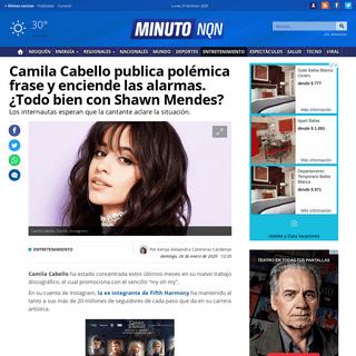 Camila Cabello publica polémica frase y enciende las alarmas. ¿Todo bien con Shawn Mendes- - Minuto Neuquen