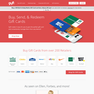 Gyft- Buy, Send & Redeem Gift Cards Online or with Mobile App