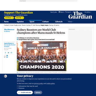 ArchiveBay.com - www.theguardian.com/sport/2020/feb/22/st-helens-sydney-roosters-world-club-challenge-match-report - Sydney Roosters are World Club champions after Manu mauls St Helens - Sport - The Guardian