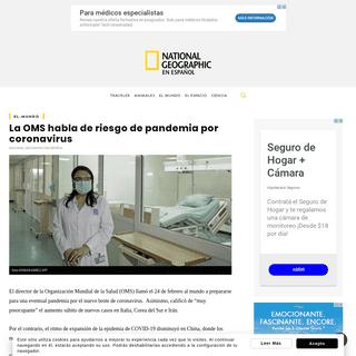 La OMS habla de riesgo de pandemia por coronavirus - National Geographic en Español