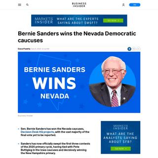 Bernie Sanders win Nevada Democratic caucuses, sweeps three contests - Business Insider