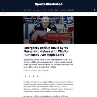 Emergency backup goalie David Ayers wins for Hurricanes - Sports Illustrated