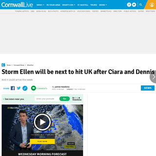 Storm Ellen will be next to hit UK after Ciara and Dennis - Cornwall Live