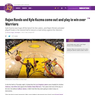 Lakers vs Warriors Final Score- Rajon Rondo, Kyle Kuzma lead way in win - Silver Screen and Roll