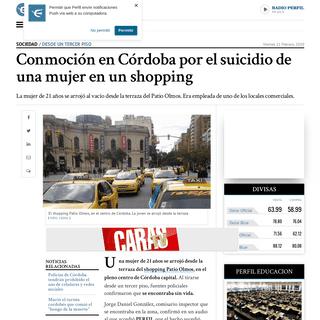 Conmoción en Córdoba por el suicidio de una mujer en un shopping - Perfil