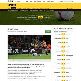 Wolverhampton Wanderers 4-0 Espanyol- Nuno staying focused as fans dream of glory - BBC Sport