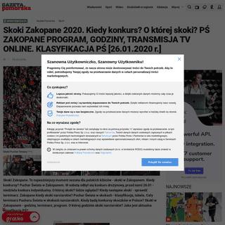 Skoki Zakopane 2020. Kiedy konkurs- O której skoki- PŚ ZAKOPANE PROGRAM, GODZINY, TRANSMISJA TV ONLINE. KLASYFIKACJA PŚ [26.0