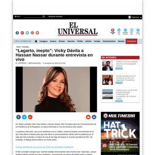 """""""Lagarto, inepto""""- Vicky Dávila a Hassan Nassar durante entrevista en vivo - EL UNIVERSAL - Cartagena"""