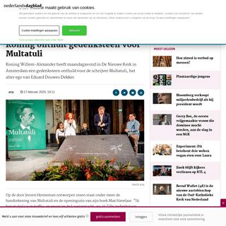Koning onthult gedenksteen voor Multatuli - Nederlands Dagblad