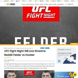 UFC Fight Night 168 Live Streams Reddit Felder vs Hooker - BTC Wires