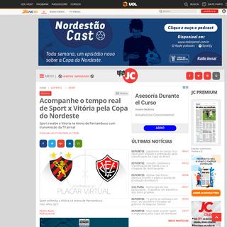 Acompanhe o tempo real de Sport x Vitória pela Copa do Nordeste - Jornal do Commercio