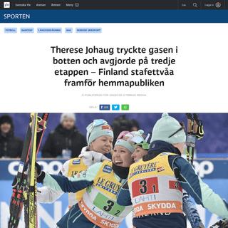 Therese Johaug tryckte gasen i botten och avgjorde på tredje etappen – Finland stafettvåa framför hemmapubliken - Sport - s