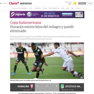 Huracán estuvo lejos del milagro y quedó eliminado - Clarín