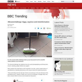 #Broomchallenge- Eggs, equinox and misinformation - BBC News