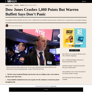 Dow Jones Crashes 1,000 Points But Warren Buffett Says Don't Panic