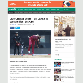 Live Cricket Score - Sri Lanka vs West Indies, 1st ODI - Cricbuzz.com