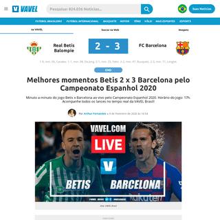 Melhores momentos Betis 2 x 3 Barcelona pelo Campeonato Espanhol 2020 - 09-02-2020 - VAVEL Brasil