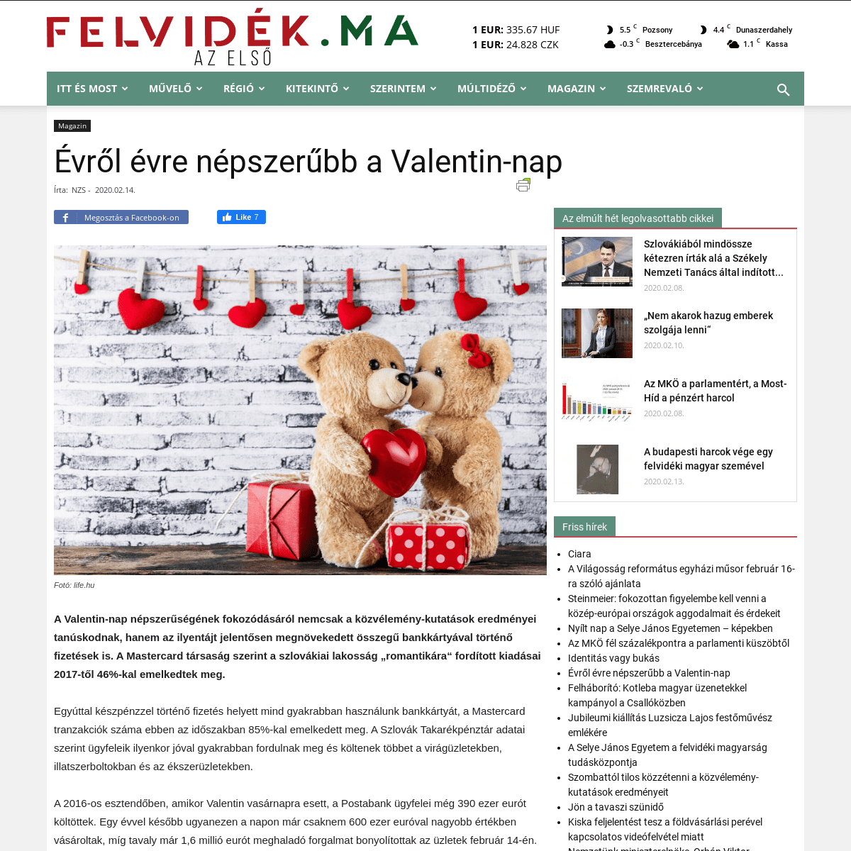 Évről évre népszerűbb a Valentin-nap - Felvidék.ma