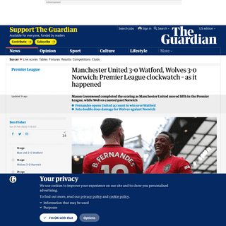 Manchester United 3-0 Watford, Wolves 3-0 Norwich- Premier League clockwatch – as it happened - Football - The Guardian