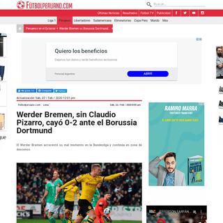 ArchiveBay.com - www.futbolperuano.com/peruanos-en-el-exterior/noticias/werder-bremen-vs-borussia-dortmund-en-vivo-online-claudio-pizarro-bundesliga-260807 - Werder Bremen, sin Claudio Pizarro, cayó 0-2 ante el Borussia Dortmund