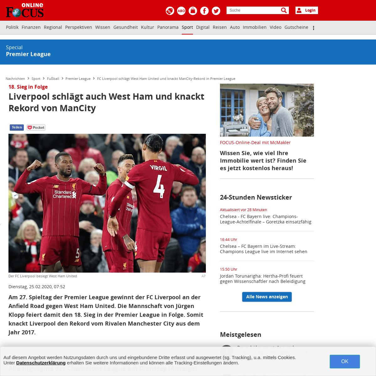FC Liverpool schlägt West Ham United und knackt ManCity-Rekord in Premier League - FOCUS Online