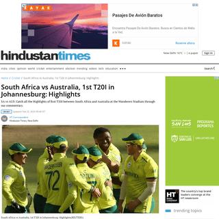 South Africa vs Australia, 1st T20I in Johannesburg-Highlights - cricket - Hindustan Times