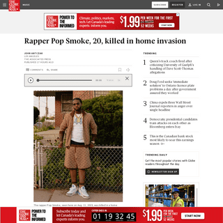 Rapper Pop Smoke, 20, killed in home invasion - The Globe and Mail