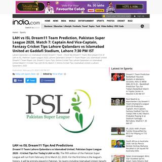 PSL 2020 Dream11 Team Prediction Lahore Qalandars vs Islamabad United, LAH vs ISL Match 7, Islamabad United vs Lahore Qalandars