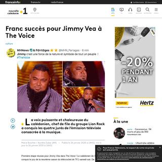 Franc succès pour Jimmy Vea à The Voice - Nouvelle-Calédonie la 1ère