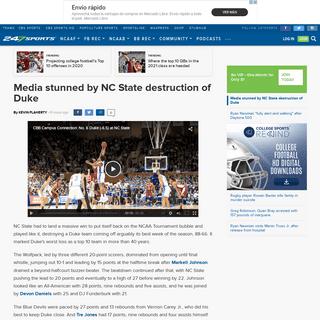 Media stunned by NC State destruction of Duke