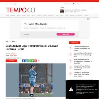 Draft Jadwal Liga 1 2020 Dirilis, Ini 3 Lawan Pertama Persib - Bola Tempo.co