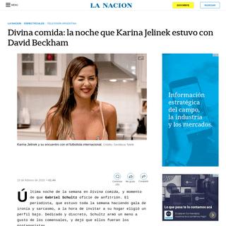 Divina comida- la noche que Karina Jelinek estuvo con David Beckham - LA NACION