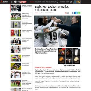 Beşiktaş - Gaziantep FK- İlk 11'ler belli oldu - NTVSpor.net