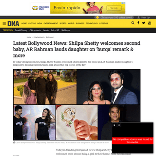 Latest Bollywood News- Shilpa Shetty welcomes second baby, AR Rahman lauds daughter on 'burqa' remark & more
