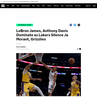 LeBron James, Anthony Davis Dominate as Lakers Silence Ja Morant, Grizzlies - Bleacher Report - Latest News, Videos and Highligh