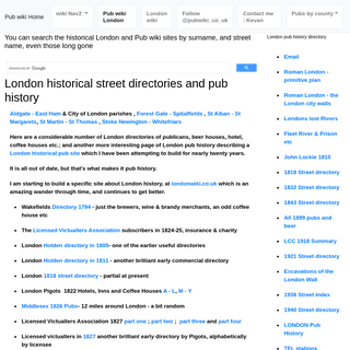 Pub history in London, suburbs & the south - mainly 1800 to 1940