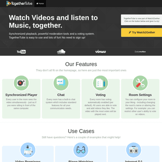 Watch Videos and listen to Music, together - TogetherTube - TogetherTube