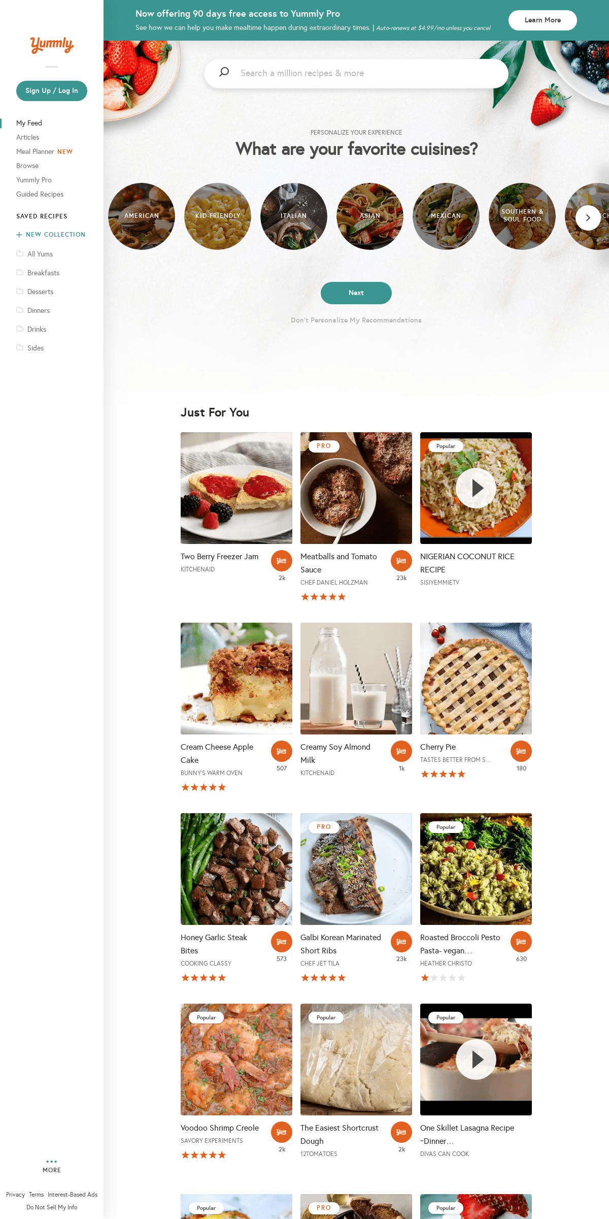 Yummly- Personalized Recipe Recommendations and Search