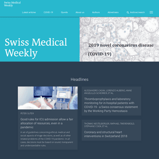 Swiss Medical Weekly - Current issue