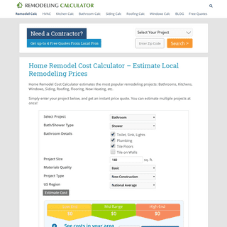 Remodeling Cost Calculator – Estimate the Cost of Remodeling & Home Improvement