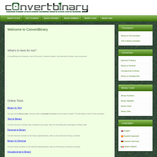 ConvertBinary.com - The Best Resource about Binary Code
