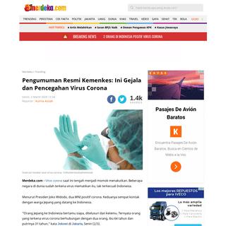 Pengumuman Resmi Kemenkes- Ini Gejala dan Pencegahan Virus Corona - merdeka.com