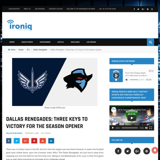 Dallas Renegades- Three Keys To Victory For the Season Opener