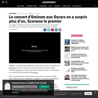 Le concert d'Eminem aux Oscars en a surpris plus d'un, Scorsese le premier - Le Huffington Post