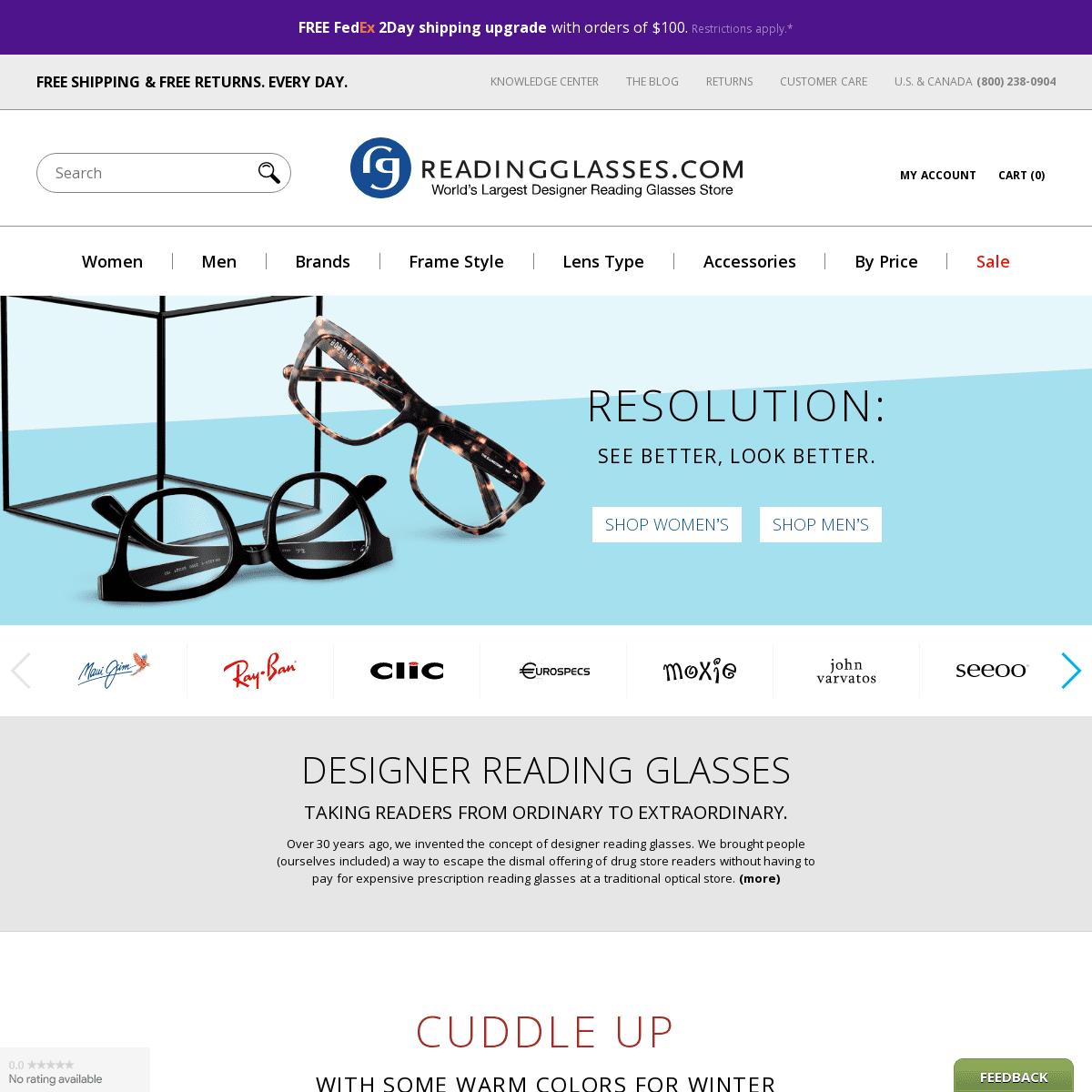 The World's Largest Designer Reading Glasses Store - ReadingGlasses.com